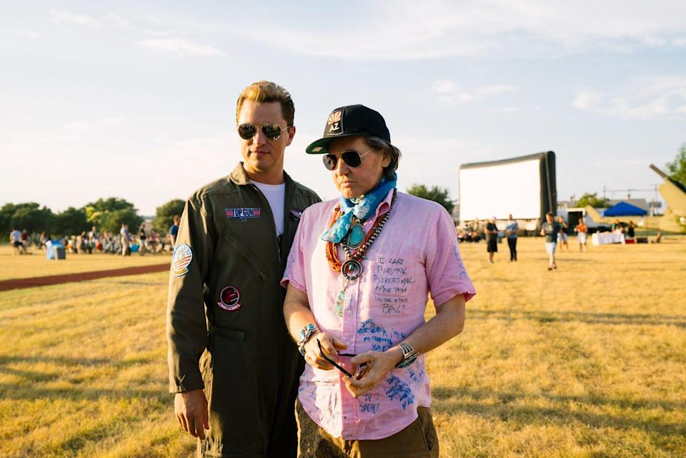 """Val Kilmer, right, stood next to an Ice Man look-a-like at a special Rolling Roadshow screening of the original """"Top Gun"""" in Austin, Texas on August 31."""