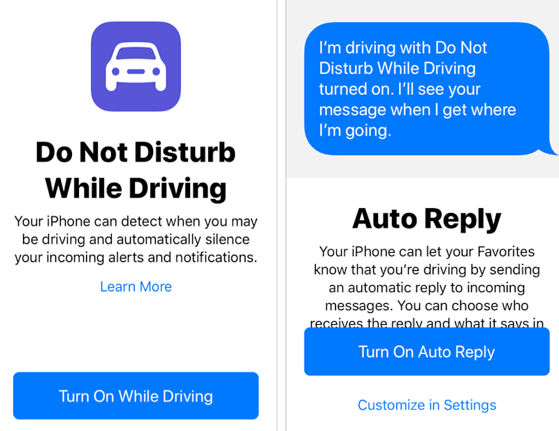 Screenshots of the 'Do Not Disturb While Driving' feature on the iPhone.