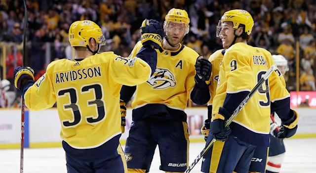 "<a class=""link rapid-noclick-resp"" href=""/nhl/players/6480/"" data-ylk=""slk:Viktor Arvidsson"">Viktor Arvidsson</a>: Part-time sniper, full-time wing man. (AP Photo/Mark Humphrey)"