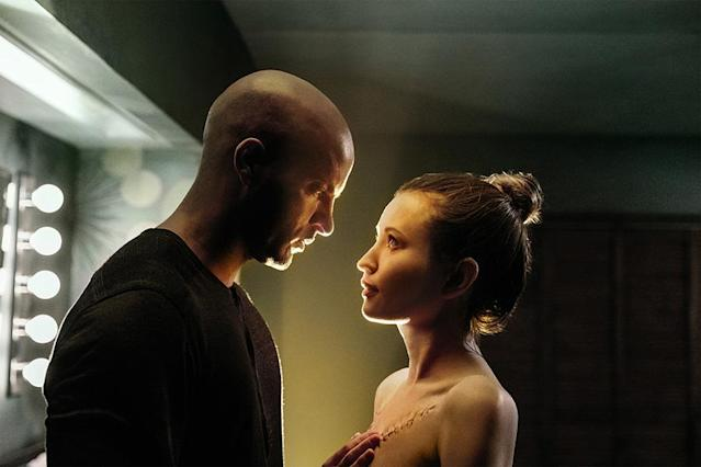 <p>Ricky Whittle as Shadow Moon,Emily Browning as Laura Moon in Starz's <i>American Gods</i>.<br><br>(Photo: Starz) </p>
