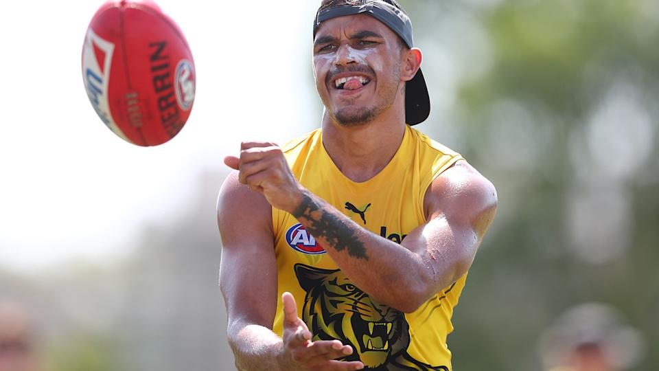 Sydney Stack was one of two Richmond Tigers players to be banned for 10 weeks after leaving the AFL's Gold Coast hub to visit a strip club. (Photo by Chris Hyde/Getty Images)