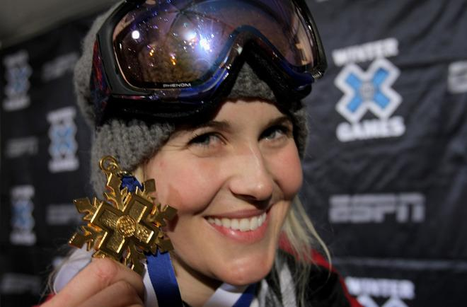 ASPEN, CO - FILE:  Sarah Burke of Whistler, Canada poses with her gold medal after winning the Women's Skiing Superpipe at Winter X Games 13 on Buttermilk Mountain on January 23, 2009 in Aspen, Colorado. According to reports on January 19, 2012, Burke died today at the age of 29 after suffering an accident in a training run on January 11 at Park City Mountain Resort.  (Photo by Doug Pensinger/Getty Images)