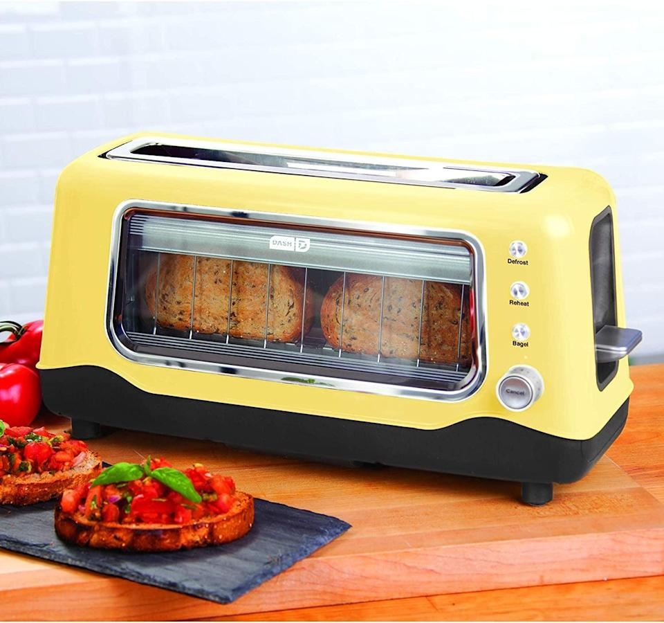 <p>The <span>Dash Clear View Extra Wide Slot Toaster</span> ($55) has a see through window so you can see how dark your toast is getting without guessing. It has an auto shut-off feature as well. It comes in a variety of colors and looks stunning on your countertop. </p>