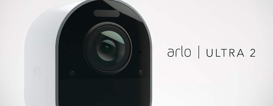 arlo ultra 2 camera for outside your home product shot on white background