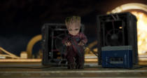 <p>In the trailer, Groot appears to be hooking up an amplifier to provide a soundtrack to the Guardians fight scene. (Photo: Marvel) </p>