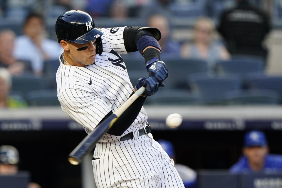 New York Yankees Aaron Judge prepares to hit a ball, which was caught in right field, during the third inning of a baseball game against the Kansas City Royals, Wednesday, June 23, 2021, at Yankee Stadium in New York. (AP Photo/Kathy Willens)