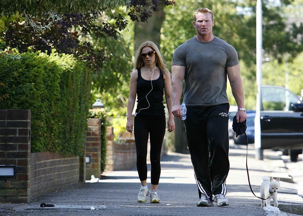 """It looks like Geri Halliwell lost her """"Girl Power;"""" perhaps her beefy personal trainer demands too much from the diminutive diva? Dean Chapple/<a href=""""http://www.splashnewsonline.com"""" target=""""new"""">Splash News</a> - July 31, 2007"""