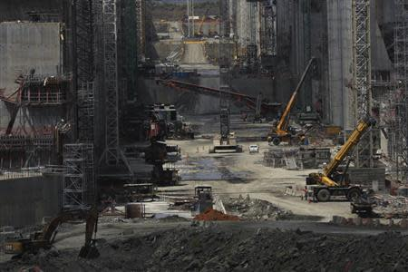 Idle cranes are seen during organize tour by the Panama Canal authorities to the construction site of the Panama Canal Expansion project on the Pacific side in Panama City