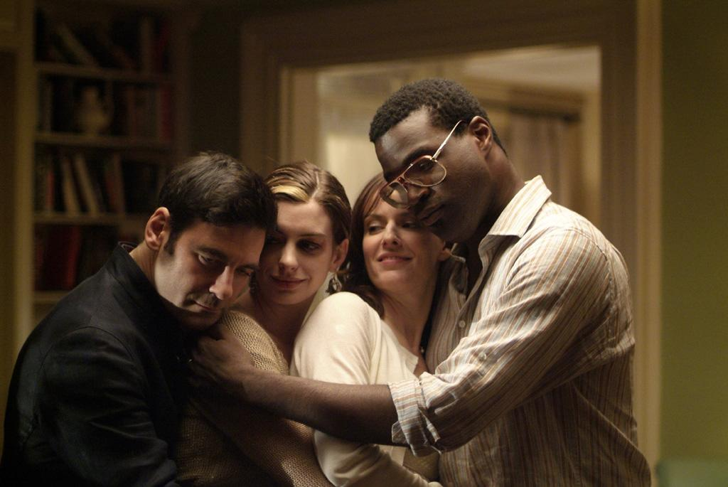 """<a href=""""http://movies.yahoo.com/movie/contributor/1808873075"""">Mather Zickel</a>, <a href=""""http://movies.yahoo.com/movie/contributor/1804705919"""">Anne Hathaway</a>, <a href=""""http://movies.yahoo.com/movie/contributor/1809160790"""">Rosemarie DeWitt</a> and <a href=""""http://movies.yahoo.com/movie/contributor/1804466291"""">Tunde Adebimpe</a> in Sony Pictures Classics' <a href=""""http://movies.yahoo.com/movie/1809961213/info"""">Rachel Getting Married</a> - 2008"""