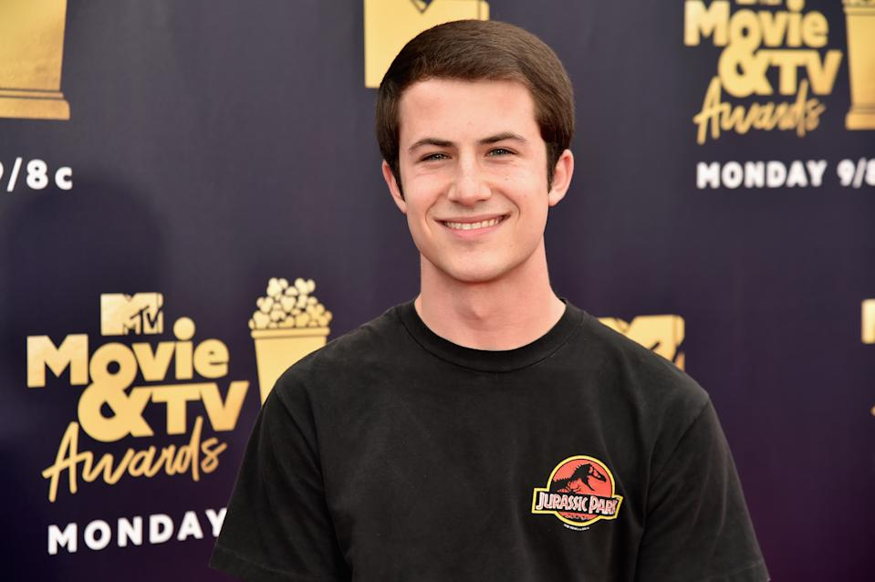 SANTA MONICA, CA - JUNE 16:  Actor Dylan Minnette attends the 2018 MTV Movie And TV Awards at Barker Hangar on June 16, 2018 in Santa Monica, California.  (Photo by Jeff Kravitz/FilmMagic)