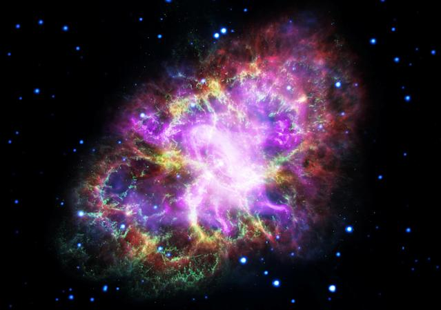 <p>This composite image of the Crab Nebula, a supernova remnant, was assembled by combining data from five telescopes spanning nearly the entire breadth of the electromagnetic spectrum: the Karl G. Jansky Very Large Array, the Spitzer Space Telescope, the Hubble Space Telescope, the XMM-Newton Observatory, and the Chandra X-ray Observatory. Photo released May 10, 2017. (Photo: NASA, ESA, NRAO/AUI/NSF and G. Dubner (University of Buenos Aires)/Handout via Reuters) </p>