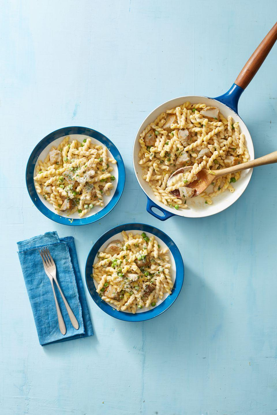 """<p>Craving mac and cheese without the nutritional blowback? This creamy dish tastes just as delightful, with each bowl packing in 40+ of protein in one sitting.</p><p><em><a href=""""https://www.goodhousekeeping.com/food-recipes/easy/a22729558/creamy-lemon-pasta-with-chicken-and-peas-recipe/"""" rel=""""nofollow noopener"""" target=""""_blank"""" data-ylk=""""slk:Get the recipe for Creamy Lemon Pasta with Chicken and Peas »"""" class=""""link rapid-noclick-resp"""">Get the recipe for Creamy Lemon Pasta with Chicken and Peas »</a></em></p>"""