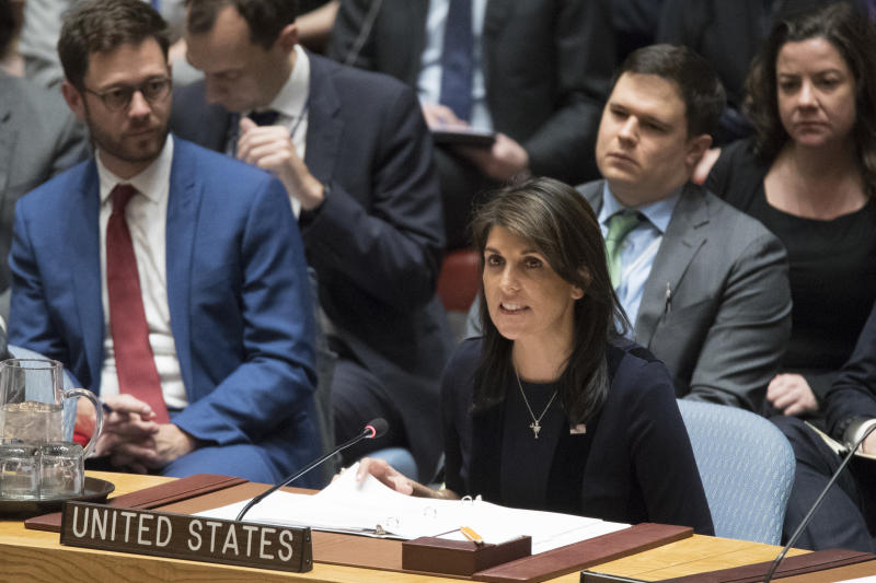 U.S. Ambassador to the United Nations Nikki Haley speaks during a Security Council meeting on the situation between Britain and Russia, Wednesday, March 14, 2018 at United Nations headquarters. Britain said Wednesday it would expel 23 Russian diplomats and sever high-level bilateral contacts after Russia ignored a deadline to explain how a Soviet-developed nerve agent was used against ex-spy Sergei Skripal and his daughter Yulia. (AP Photo/Mary Altaffer)