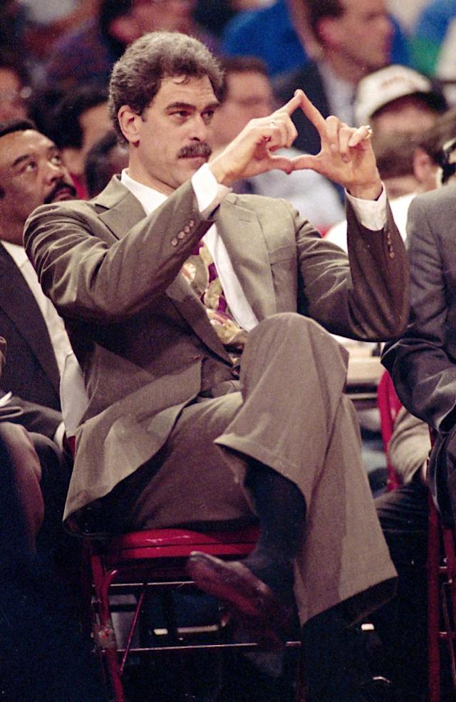 """FILE - In this June 6, 1991, file photo, Chicago Bulls head coach Phil Jackson directs the offense during third quarter action against the Los Angeles Lakers in Game 2 of the NBA Finals in Chicago. Jackson will be introduced as the newest member of the New York Knicks' front office Tuesday morning, according to a person familiar with the negotiations between the 11-time champion coach and the team. The person spoke on condition of anonymity on Friday, March 14, 2014, because the Knicks would only confirm that a """"major announcement"""" involving team executives was scheduled. (AP Photo/John Swart/File)"""