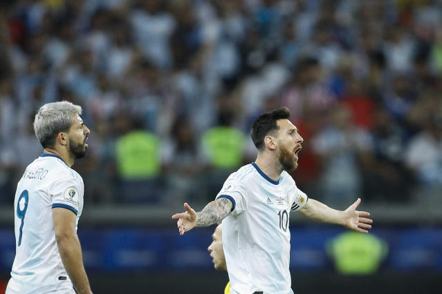 Argentina's Lionel Messi took issue with the referees after a 2-0 loss to Brazil in the Copa America semifinal. (AP Photo/Victor R. Caivano)