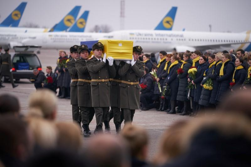Memorial ceremony for the Ukrainian victims of Iran plane crash at the Boryspil International Airport, outside Kiev