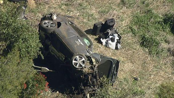PHOTO: Aerial footage the rollover crash involving Tiger Woods, Feb. 23, 2021, in Los Angeles. (KABC)