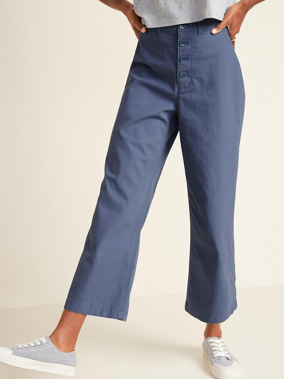 <p>Looking for some color? Then get the <span>Old Navy Extra High-Waisted Button-Fly Crop Wide-Leg Pants</span> ($35, originally $40) in blue.</p>