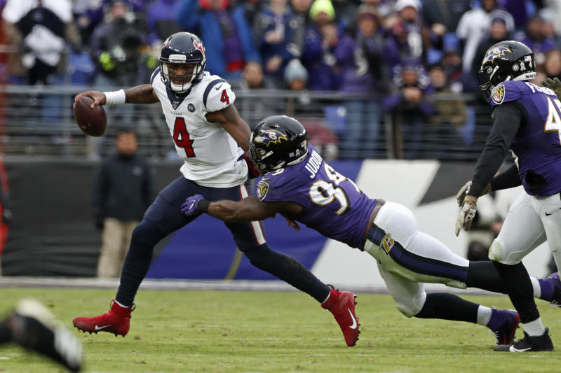 Quarterback Deshaun Watson of the Houston Texans is sacked by Ravens outside linebacker Matt Judon. (Photo by Todd Olszewski/Getty Images)
