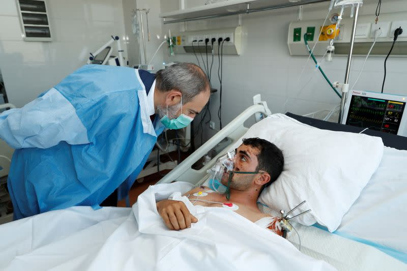 Armenian Prime Minister Nikol Pashinyan visits a military hospital in Yerevan