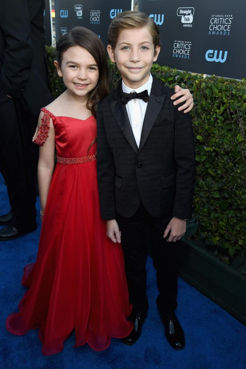 She posed for the cameras with fellow actor Jacob Tremblay, 11, who was nominated for the same award for his role in Wonder. Source: Getty