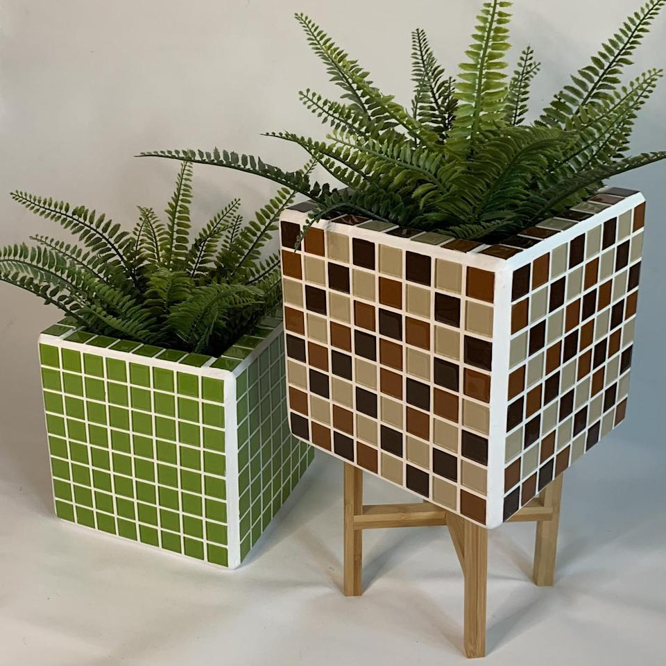 """Want your cube to do a bit more? They're perfectly suited to be planters, as shown in these Glass Jungle creations.<br><br><strong>GlassJungleGB</strong> Large Handmade Green Mosaic Tile Planter, $, available at <a href=""""https://www.etsy.com/uk/listing/980769747/large-handmade-green-mosaic-tile-planter?ref=related-1"""" rel=""""nofollow noopener"""" target=""""_blank"""" data-ylk=""""slk:Etsy"""" class=""""link rapid-noclick-resp"""">Etsy</a>"""
