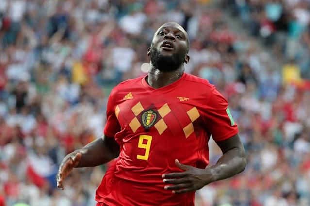 Soccer Football - World Cup - Group G - Belgium vs Panama - Fisht Stadium, Sochi, Russia - June 18, 2018 Belgium's Romelu Lukaku celebrates scoring their third goal REUTERS/Marcos Brindicci