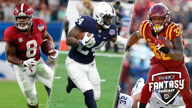 Alabama's Josh Jacobs, Penn State's Miles Sanders and Iowa State's David Montgomery figure to be the first three running backs off the board in the 2019 NFL Draft. Matt Harmon and Eric Edholm discuss the incoming running back class on the latest Yahoo Fantasy Football Podcast. (AP Photo/L: Wilfredo Lee; C: Rick Scuteri; R: Charlie Neibergall)
