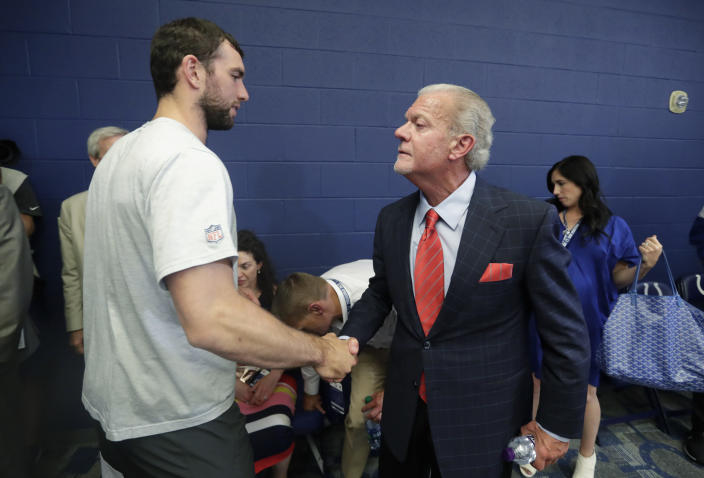Jim Irsay and the Colts won't be squabbling with Andrew Luck over salary this season. (AP)