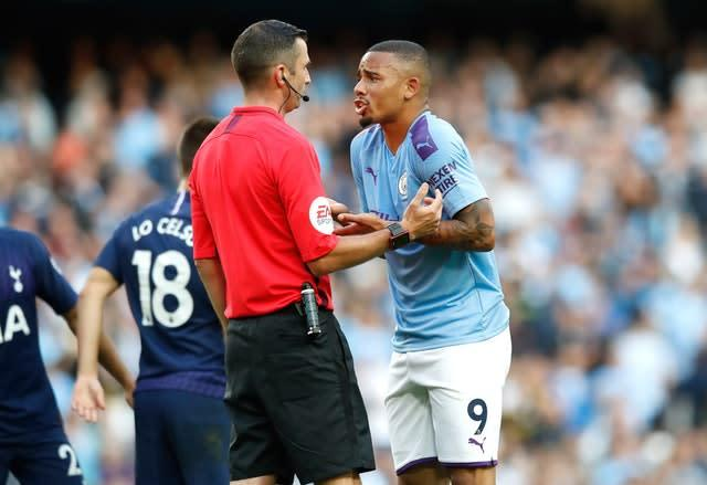 Manchester City's Gabriel Jesus questioned why his late effort was ruled out against Tottenham (Martin Rickett/PA)
