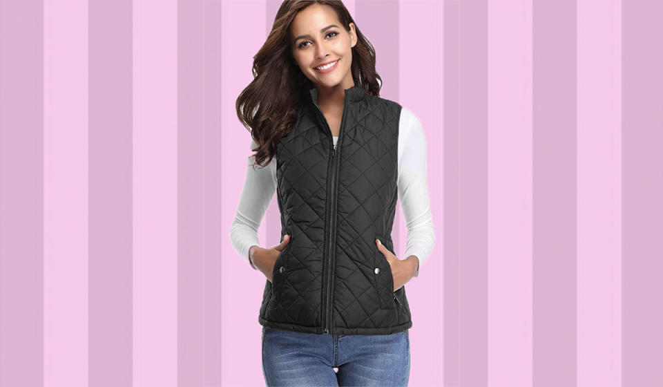 The most flattering down vest—just 25 bucks right now. Choose from 11 colors. (Photo: Amazon)