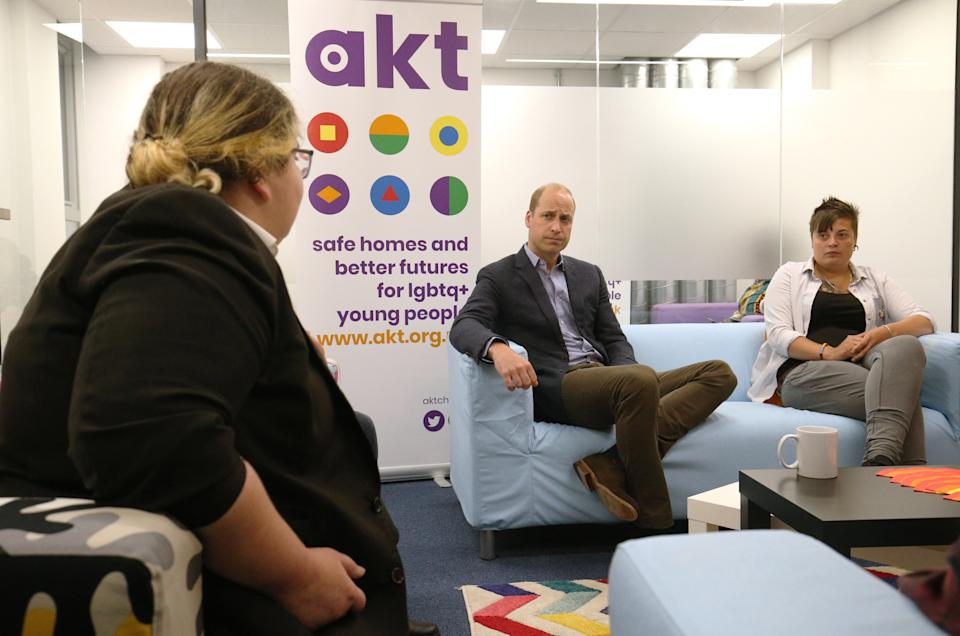 The Duke of Cambridge (centre) speaks to former and current service users Bridie Honour (left) and Claire Evans (right) during a visit to the Albert Kennedy Trust in London to learn about the issue of LGBTQ youth homelessness and the unique approach that the organisation is taking to tackling the problem.