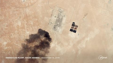 A satellite image shows an apparent drone strike on an Aramco oil facility in Saudi Arabia - Credit: Planet Labs