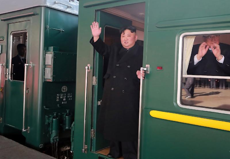 Kim Jong Un departed from the Pyongyang railway station for what could be a 60-hour journey to Vietnam (AFP Photo/KCNA VIA KNS)