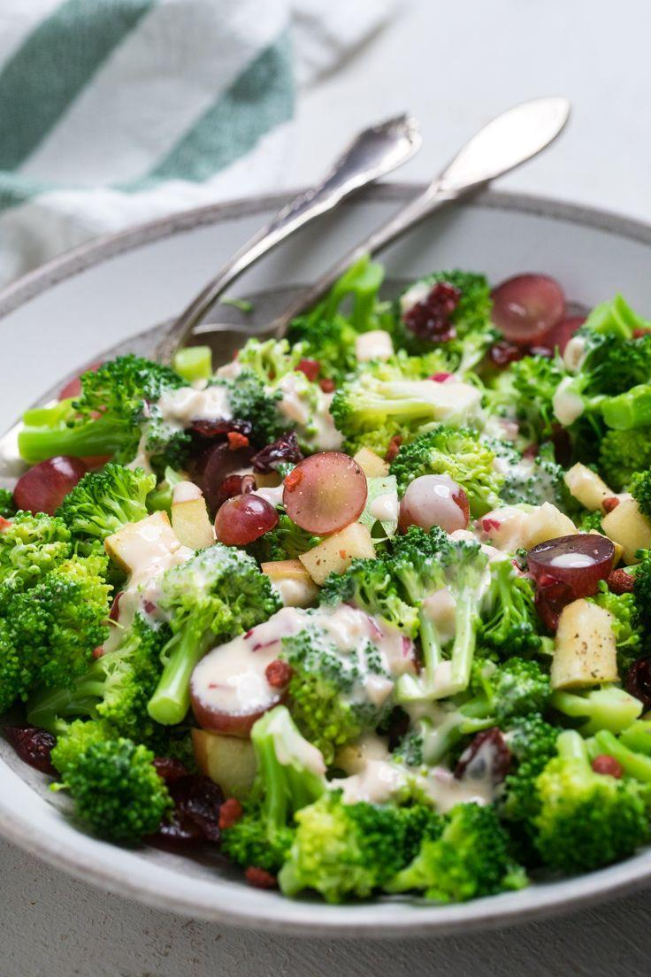 """<p>Let's talk lunch. This broccoli salad only takes minutes to prepare, making it an awesome option for a work week meal. Steaming the broccoli is completely optional, but make sure to add grapes, apples, and cranberries, since they will give the salad a sweet burst of flavor. <br><br><a class=""""link rapid-noclick-resp"""" href=""""https://makeitdairyfree.com/easy-vegan-broccoli-salad/"""" rel=""""nofollow noopener"""" target=""""_blank"""" data-ylk=""""slk:Get the recipe"""">Get the recipe</a><br><em><br>Per one serving: 332 cal, 22 g fat (3 g saturated fat), 26 g carbs, 13 g sugar, 593 mg sodium, 4 g fiber, 7 g protein</em></p>"""