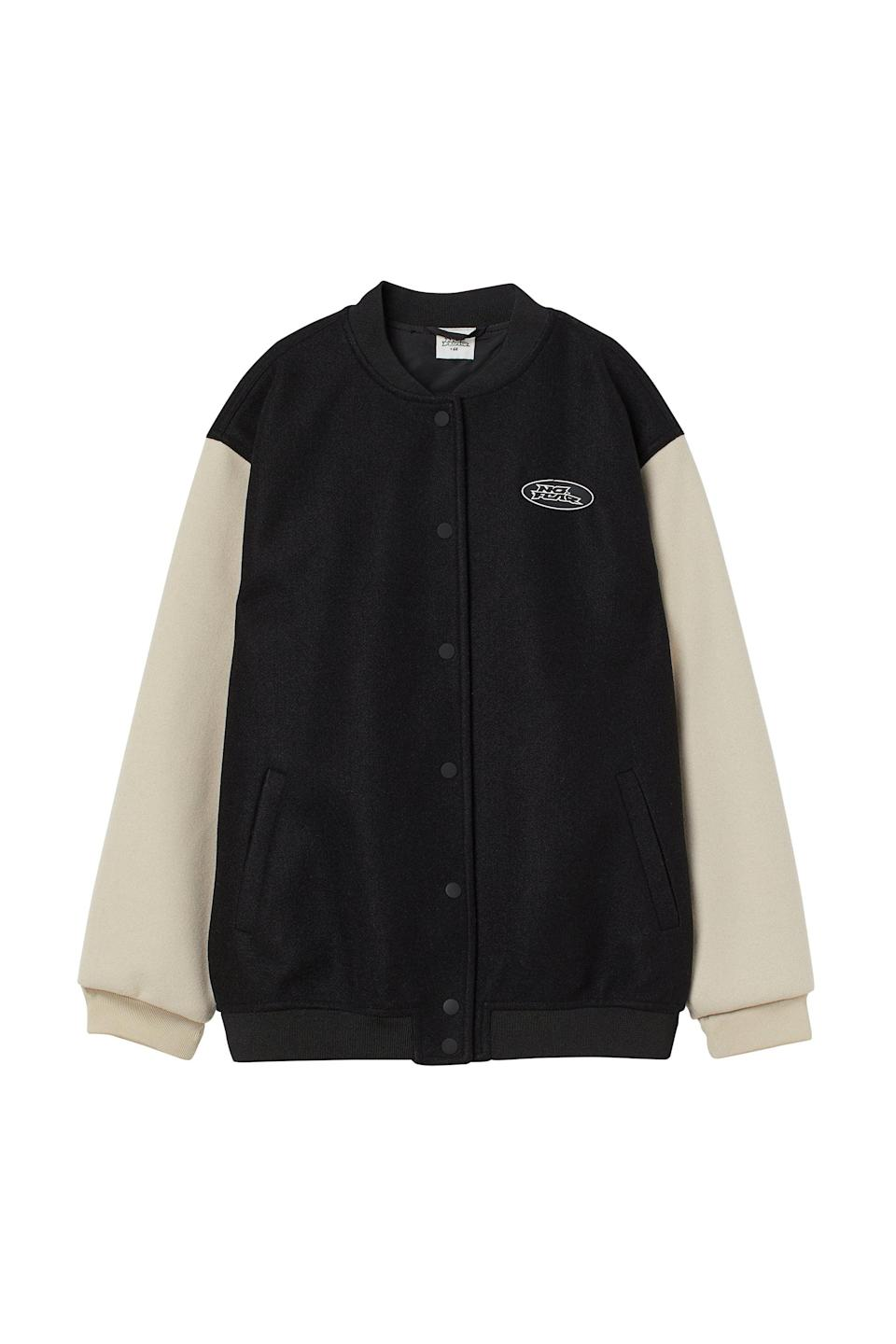 <p>Throw this <span>No Fear x H&amp;M Oversized Varsity Jacket</span> ($50) on when you want to add a little something extra to even the most basic outfit. We like it paired with a white t-shirt and straight leg jeans.</p>