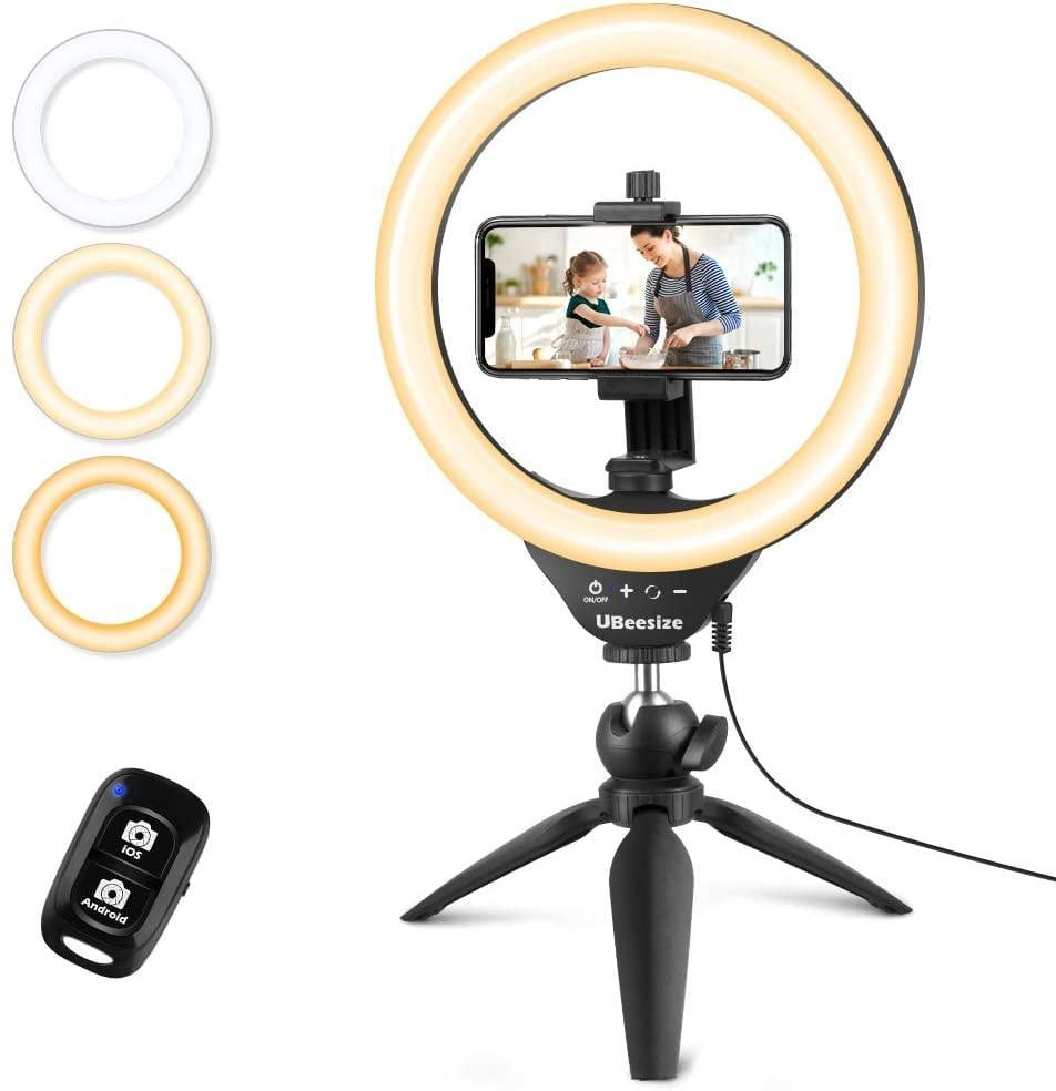 """<p>Give them the ultimate gift; this <span>UBeesize 10"""" Selfie Ring Light with Tripod Stand & Cell Phone Holder</span> ($23).</p>"""