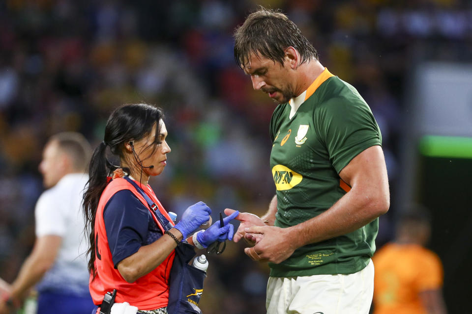 iSouth Africa's Eben Etzebeth receives treatment during the Rugby Championship test match between the Springboks and the Wallabies in Brisbane, Australia, Saturday, Sept. 18, 2021. (AP Photo/Tertius Pickard)