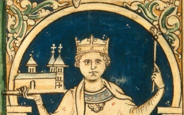 Matthew Paris's drawing of Henry III holding aloft a sceptre and a model of Westminster Abbey -  Hirarchivum Press / Alamy