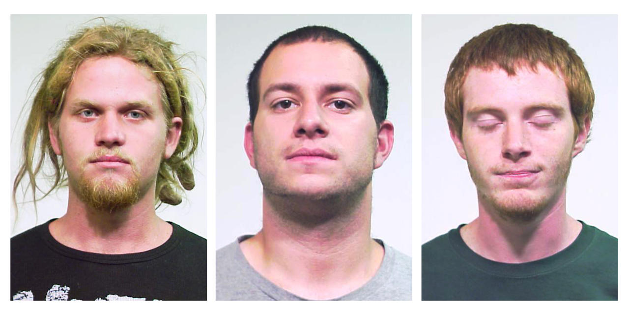 This combo made from undated photos released Saturday, May 19, 2012 by the Chicago Police Department shows from left, Brent Vincent Betterly, 24, of Oakland Park, Fla., Jared Chase, 24, of Keene, N.H., and Brian Church, 20, of Ft. Lauderdale, Fla. The three men arrested Wednesday, May 16, 2012, in Chicago, accused of making Molotov cocktails with plans to attack President Barack Obama's campaign headquarters, Mayor Rahm Emanuel's home and other targets during this weekend's NATO summit, according to prosecutors at a court hearing Saturday. The three were arrested in a nighttime raid of an apartment in the city's South Side Bridgeport neighborhood ahead of the two-day meeting. (AP Photo/Chicago Police Department)
