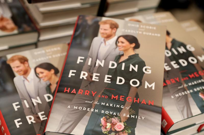 "Copies of ""Finding Freedom"" are stacked up in Waterstones Piccadilly in London."
