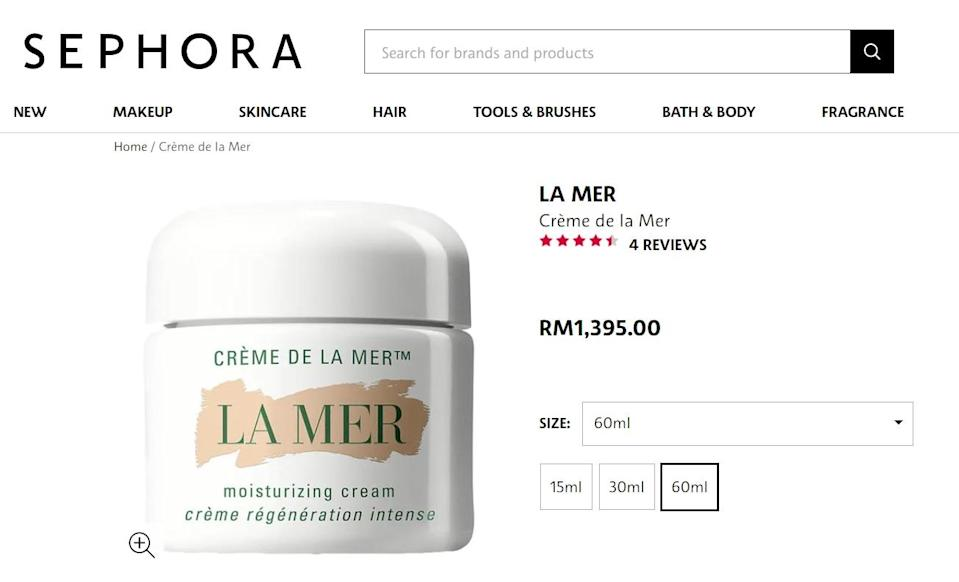 Crème de la Mer is known for its transformative healing properties that come with a hefty price tag.  —  Screen capture from Sephora Malaysia