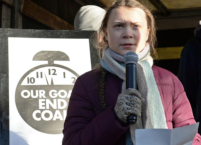 Swedish activist, 15-year-old Greta Thunberg, speaks to climate activists during the March for Climate in a protest against global warming in Katowice, Poland, Saturday, Dec. 8, 2018.