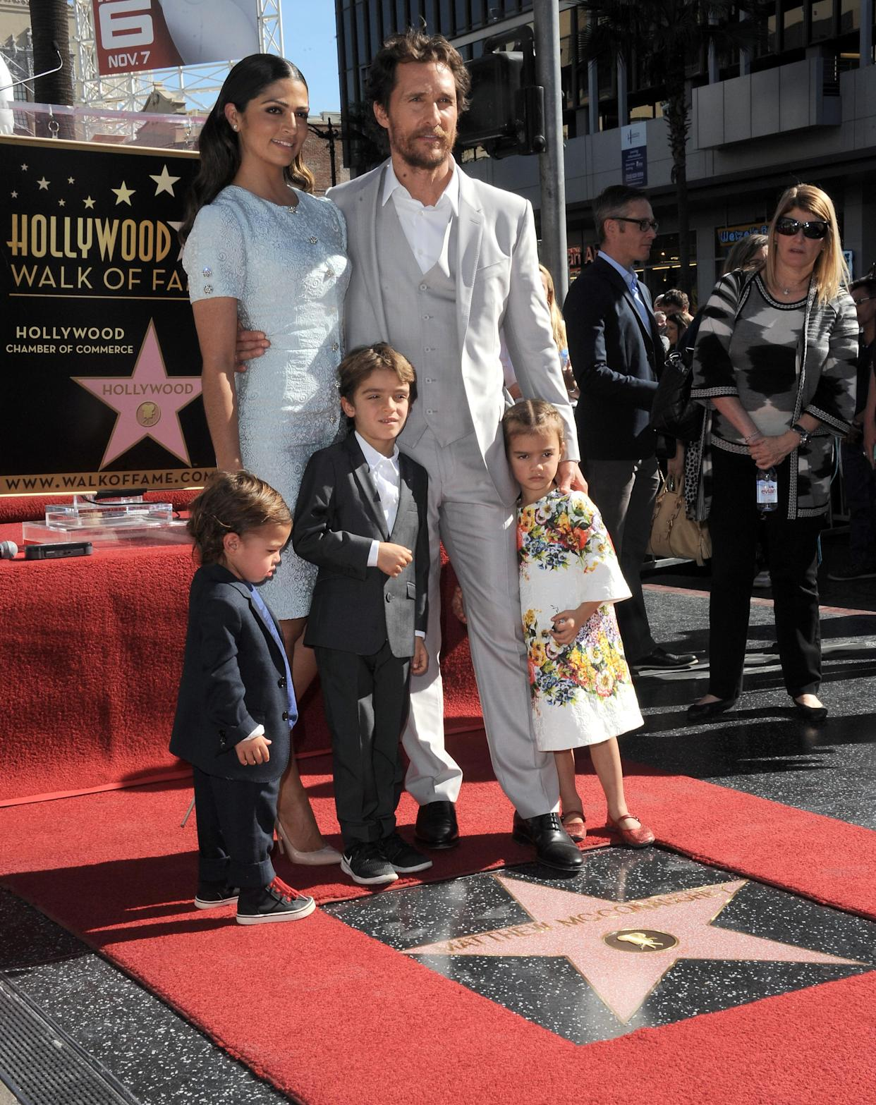 Matthew McConaughey with wife Camila and their three kids (Livingston, Levi and Vida) in 2014. (Photo: Albert L. Ortega/Getty Images)
