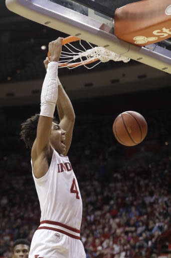 Indiana's Trayce Jackson-Davis (4) dunks during the first half of an NCAA college basketball game against South Dakota State, Saturday, Nov. 30, 2019, in Bloomington, Ind. (AP Photo/Darron Cummings)