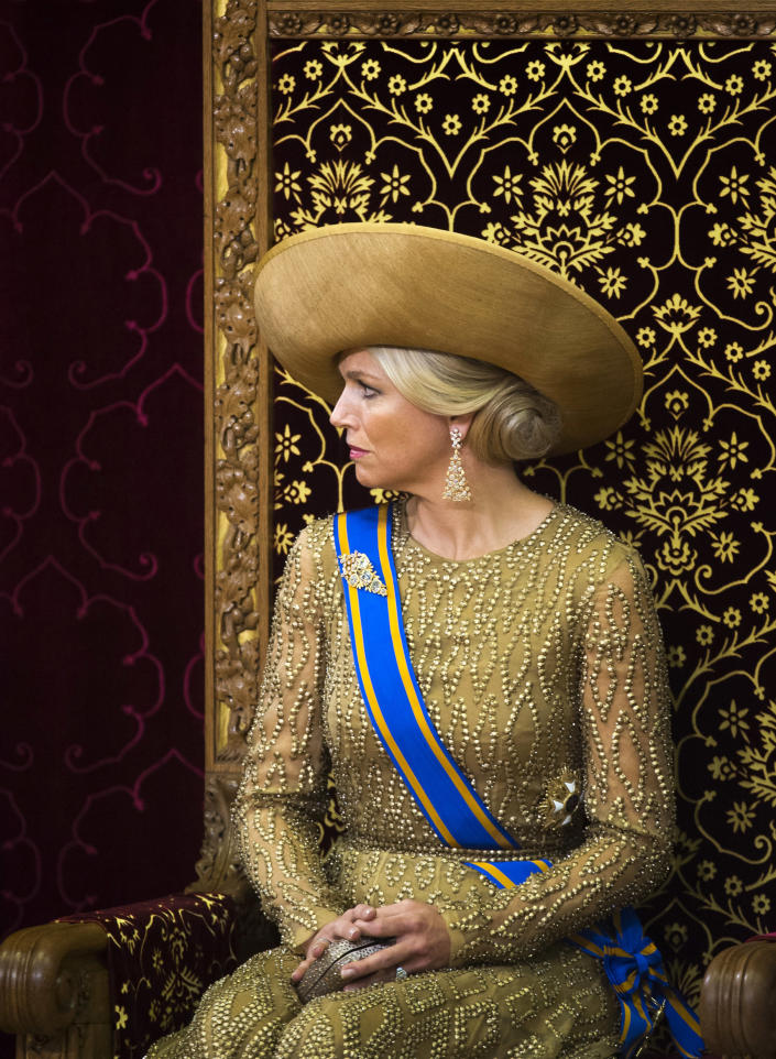 """Netherlands' King Willem-Alexander, unseen, officially opens the new parliamentary year with a speech outlining the government's plan and budget policies for the year ahead, as his wife Queen Maxima looks on in the 13th century """"Hall of Knights"""" in The Hague, Netherlands, Tuesday, Sept. 17, 2013. (AP Photo/Frank Van Beek, Pool)"""
