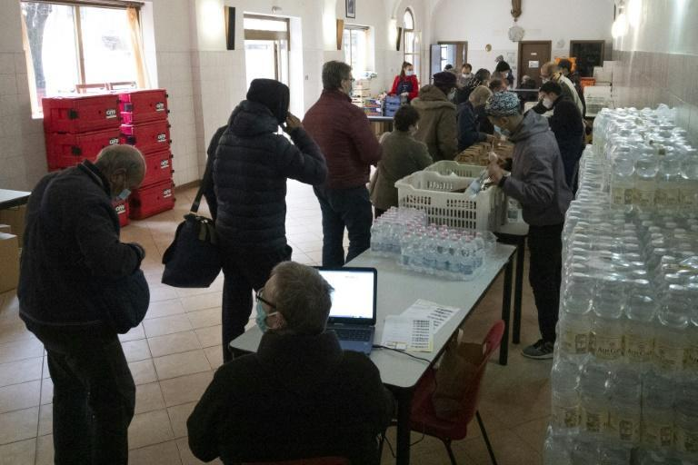 Charities like 'Frati Minori' in the northern Italian city of Turin have been helping a growing number of people in need of food assistance