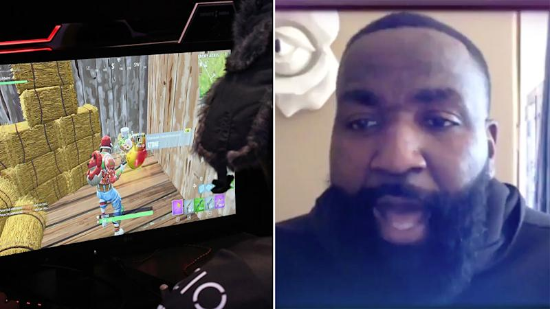 Kendrick Perkins was alarmed to learn of the Fortnite bill his kids had racked up on his credit card. Pic: Getty/Twitter