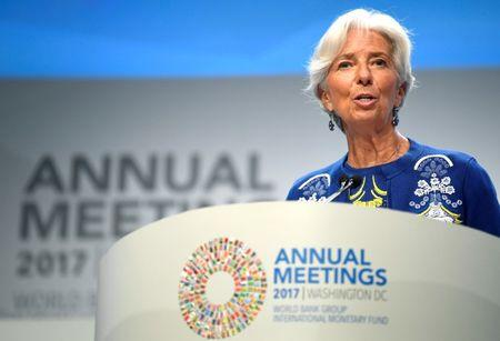 International Monetary Fund (IMF) Managing Director Christine Lagarde makes remarks during the Plenary Session of the IMF and World Bank's 2017 Annual Fall Meetings, in Washington, U.S., October 13, 2017.   REUTERS/Mike Theiler/File Photo
