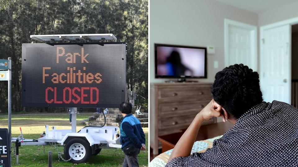 Traffic sign reading 'Park Facilities CLOSED' during Sydney's lockdown, person watches tv by themselves.